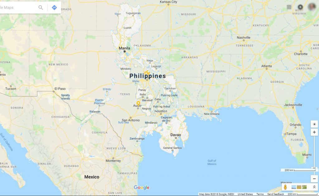 map compare philippines and texas